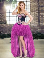 Exceptional Purple Organza Lace Up Homecoming Dress Sleeveless High Low Embroidery