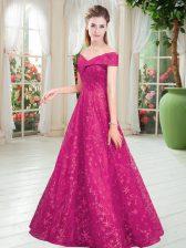 Fuchsia Sleeveless Floor Length Beading Lace Up Prom Dresses