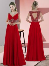 Most Popular Red Prom Dress Sweetheart Sleeveless Sweep Train Lace Up