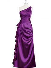 Custom Designed Floor Length Purple Homecoming Dress Elastic Woven Satin Sleeveless Beading and Ruching and Pleated