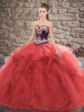 Modest Red Sweetheart Neckline Beading and Embroidery Quinceanera Dress Sleeveless Lace Up