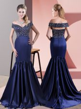 Off The Shoulder Sleeveless Sweep Train Zipper Dress for Prom Blue Satin