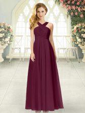 Ruching Prom Party Dress Burgundy Zipper Sleeveless Floor Length