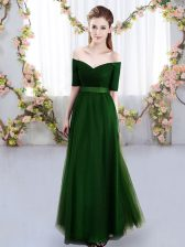 Custom Designed Green Lace Up Quinceanera Court Dresses Ruching Short Sleeves Floor Length