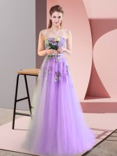 Artistic A-line Prom Party Dress Lavender Sweetheart Tulle Sleeveless Floor Length Lace Up