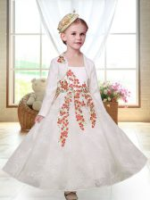 Stylish White Straps Zipper Embroidery Toddler Flower Girl Dress Sleeveless