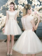 Mini Length Zipper Prom Dresses White for Prom and Party with Lace