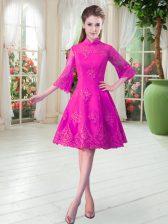 Inexpensive Fuchsia 3 4 Length Sleeve Lace Knee Length Prom Dress