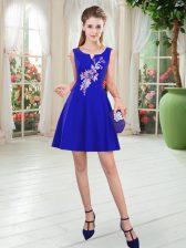 Scoop Sleeveless Zipper Dress for Prom Royal Blue Satin