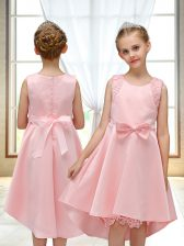 Affordable Pink Zipper Flower Girl Dress Lace and Bowknot Sleeveless High Low
