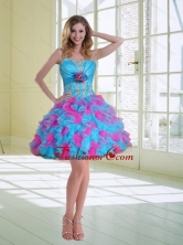 2015 Ball Gown Strapless Ruffles Discount Prom Dresses with Hand Made Flower QDZY464TZCFOR