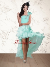 2015 Discount Apple Green One Shoulder Prom Dresses with Embroidery and Hand Made Flower QDZY640TZBFOR