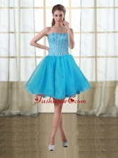 2015 Discount Baby Blue Sweetheart Short Prom Dresses with Beading PDZY690TZCFOR
