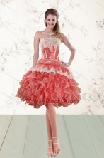 2015 Discount Ruffles Strapless Prom Gown  in Watermelon XFNAO018TZCFOR