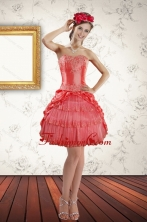 2015 Discount Strapless Coral Red Prom Gown with Ruffled Layers XFNAO147TZBFOR