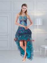 2015 Discount Straps Multi Color Prom Gown with Embroidery and Hand Made Flower  QDZY321TZBFOR