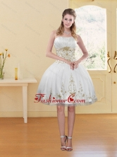 2015 Discount White Strapless Prom Dress with Embroidery XFNAO5789TZBFOR