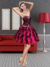 2015 Multi Discount Color Prom Dress with Beading and Ruffled Layers QDZY689TZCFOR