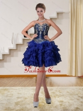 2015 Navy Blue Sweetheart Short Discount Prom Dresses with Beading and Embroidery QDZY319TZCFOR