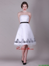 2016 A Line Strapless Appliques Prom Dresses with Belt DBEE144FOR