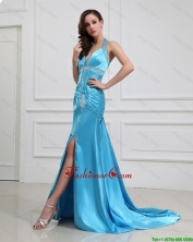 2016 Column Halter Top Brush Train Prom Dresses with High Slit DBEE433FOR