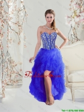2016 Discount Beaded and Ruffles High Low Prom Dresses in Royal Blue QDDTA5004-4FOR