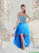 2016 Sophisticated High Low Sweetheart and Beaded Teal Prom Dresses QDDTA5004-6FOR