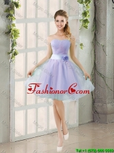 2016 Summer A Line Strapless Prom Dresses with Hand Made Flowers BMT014B-7FOR