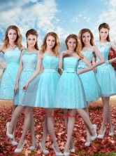 2016 Summer Beautiful Discount A Line Prom Dresses with Belt in Aqua Blue BMT032FOR