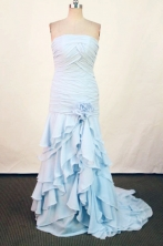 Affordable Column Strapless Floor-length Blue Prom Dresses Style FA-C-179
