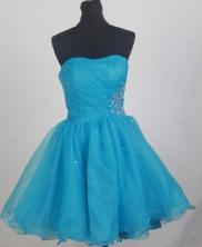 Discount Short Strapless Knee-length Aqua Blue Prom Dress LHJ42856