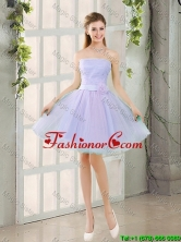 Artistic A Line Strapless Belt Prom Dresses with Hand Made Flowers BMT014A-7FOR