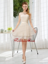 Bateau Belt Mini Length Prom Dress with Lace Up BMT021EFOR