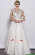 Beautiful A Line Scoop White Prom Dresses with Beading DBEE624FOR