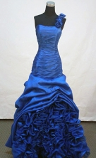 Beautiful A-line One Shoulder Neck Floor-length Taffeta Royal Blue Prom Dresses Style FA-Z-00169