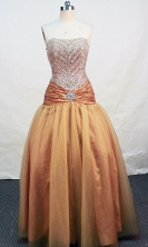 Beautiful A-line Strapless Floor-length Tulle Gold Prom Dresses Beading Style FA-Z-00139