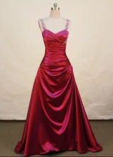 Beautiful A-line Straps Brush Prom Dresses Appliques with Beading Style FA-Z-00158
