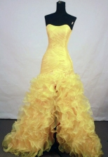 Beautiful A-line Sweetheart Floor-length Organza Yellow Prom Dresses Style FA-Z-00171