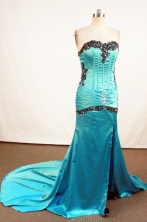 Beautiful Column Sweetheart-neck Brush Teal Appliques Prom Dresses Style FA-C-175