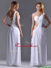 Beautiful Cut Out Waist One Shoulder White Prom Dress with Beading THPD244FOR