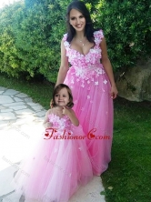 Beautiful Deep V Neckline Prom Dress with Appliques and Hot Sale Rose Pink Little Girl Dress with See Through Scoop DXZH016FOR