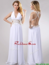 Beautiful Deep V Neckline Prom Dress with Beaded Decorated Criss Cross THPD118FOR
