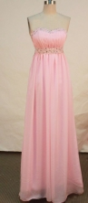Beautiful Empire Strapless Floor-length Chiffon Pink Prom Dresses Appliques with Beading Style FA-Z-00153