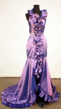 Beautiful Mermaid Halter Top neck Brush Purple Beading Prom Dresses Style FA-C-143