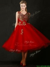 Beautiful V Neck Tea Length Prom Dress with Beading and Appliques BMT0155FOR