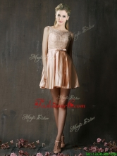 Best Selling Laced and Belted Short Prom Dress in Peach BMT0151BFOR