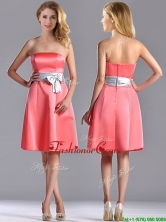 Best Selling Watermelon Knee Length Prom Dress with Silver Bowknot THPD126FOR