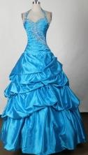 Cheap Ball Gown Halter Floor-length Royal Blue Prom Dress LHJ42809