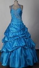Discount Ball Gown Halter Floor-length Royal Blue Prom Dress LHJ42809