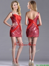 Cheap Column Beaded One Shoulder Red Prom Dress in Sequins THPD238FOR